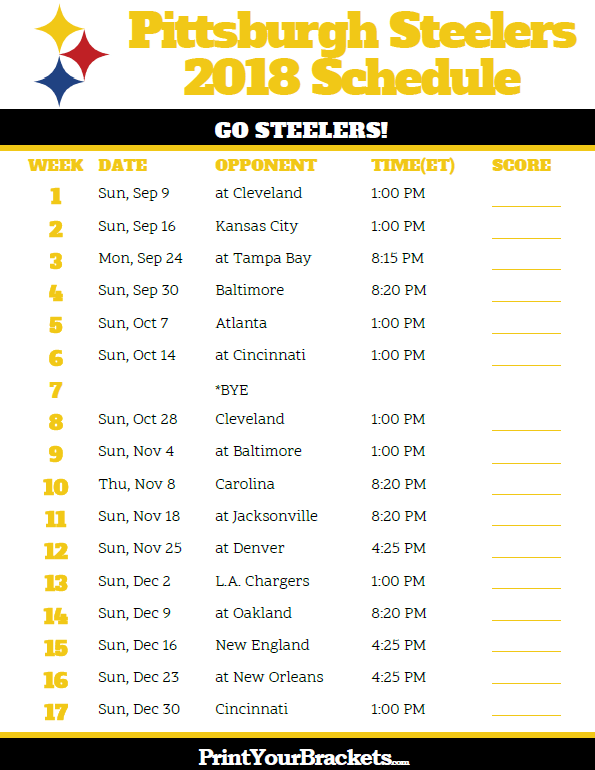 Printable 2018 Pittsburgh Steelers Football Schedule Printable Nfl