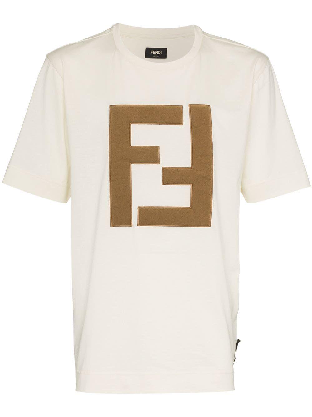 162b62bc0 FENDI FENDI LOGO EMBELLISHED COTTON T-SHIRT - NEUTRALS.  fendi  cloth