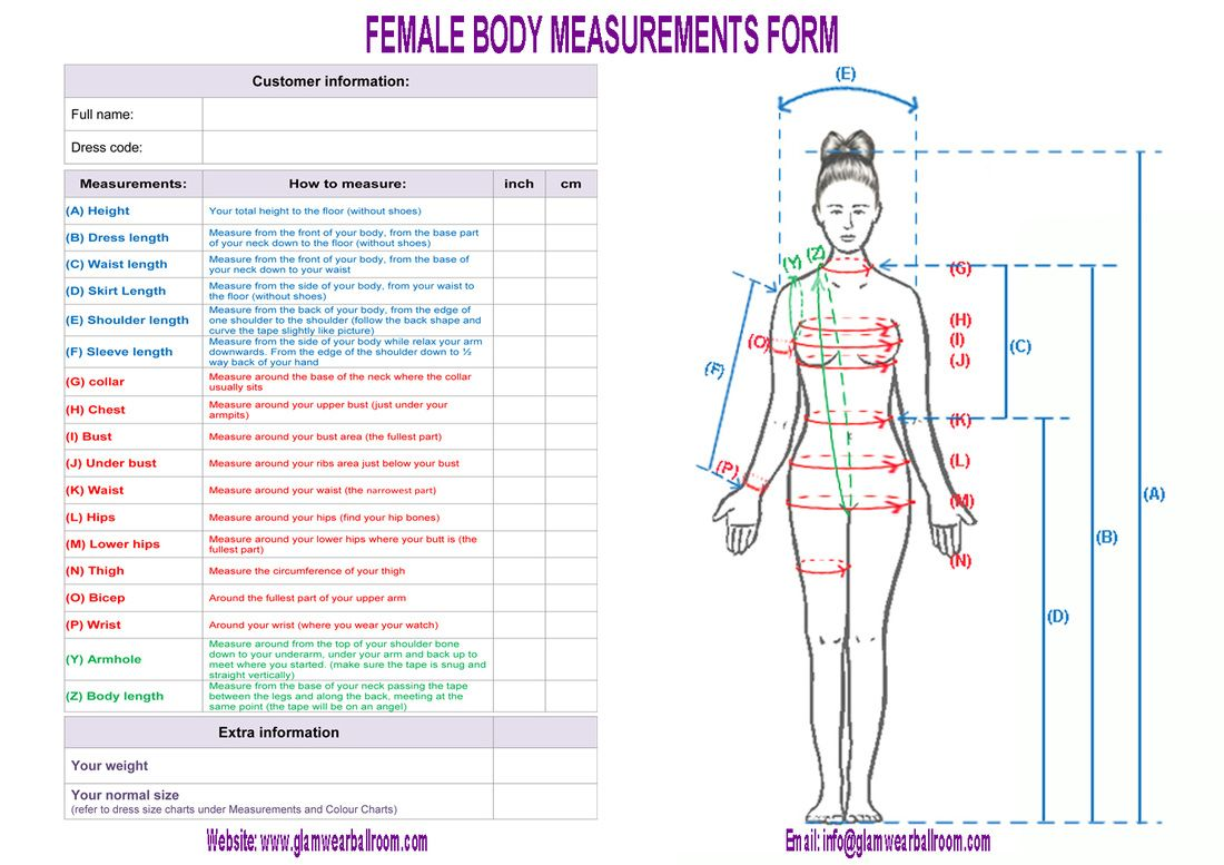Body Measurements Worksheet Body Form