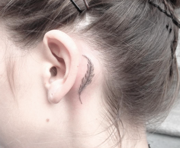 Soft Feather By Jakub Nowicz Feather Tattoo Behind Ear Behind Ear Tattoos Feather Tattoo Ear