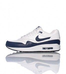 huge selection of 1a1da 47a58 Nike Air Max 1 Leer Heren Wit Marineblauw Zwart Schoenen 654466101 kopen.  Factory Store Belgie