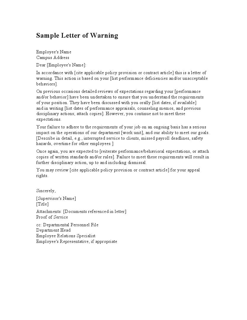 employee warning letter template letters free sle letters