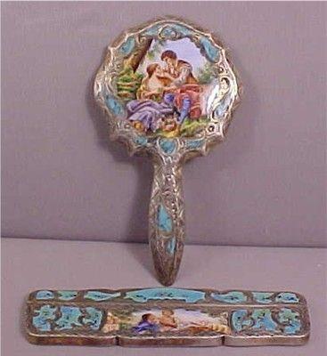 Vintage Silver Enamel Italian Comb Mirror | Hand mirror ...