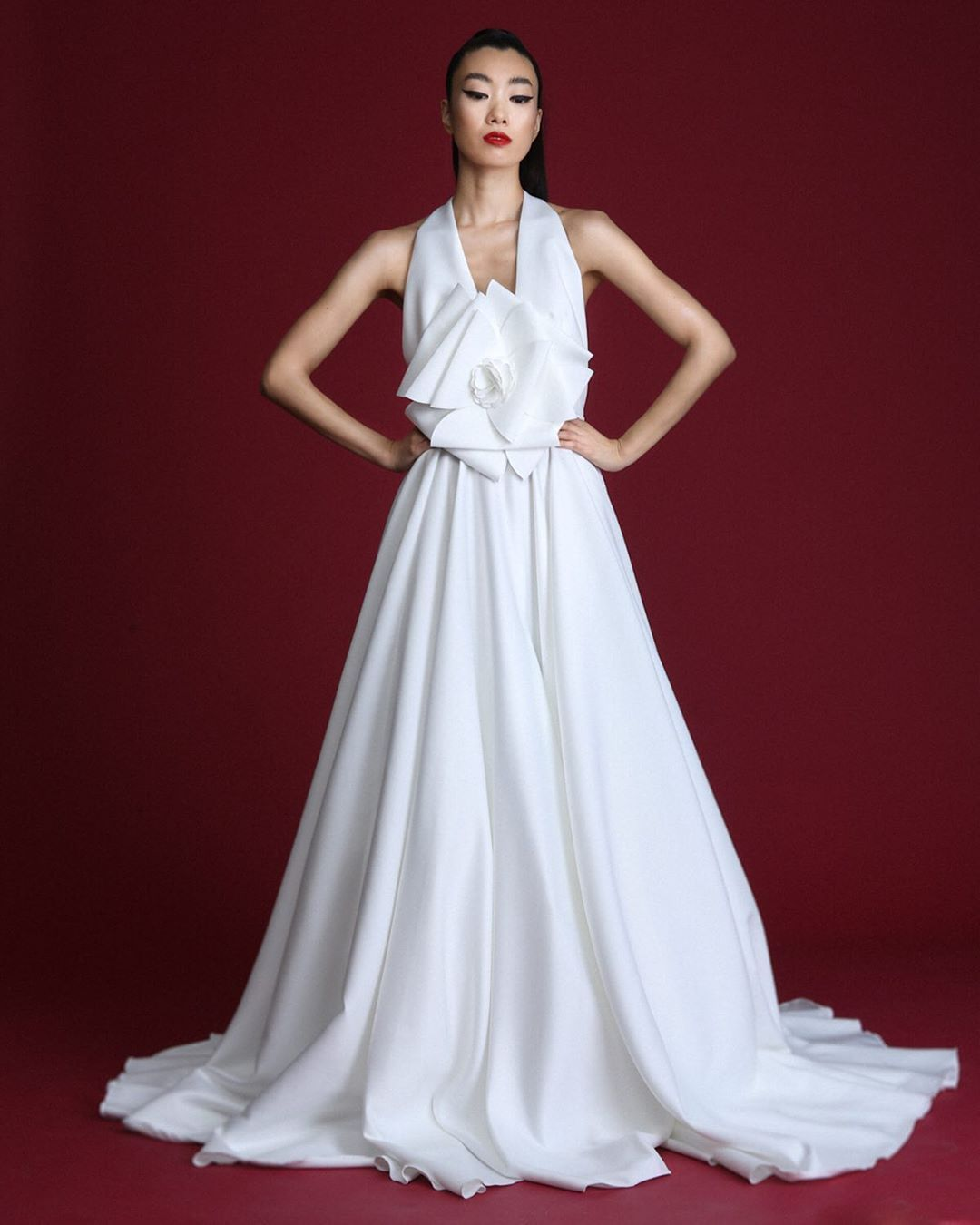 "Cyril Verdavainne on Instagram: ""Cyril Verdavainne Fall 2020 www.cyrilverdavainne.com Ivory duchess satin jubilee full gown with origami flower embelishment. Color…"""