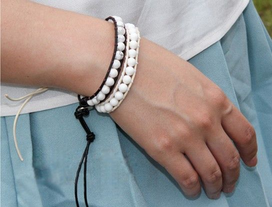 Handmade Natural White Turquoise Leather String Bracelet  $19.50 Free shipping .