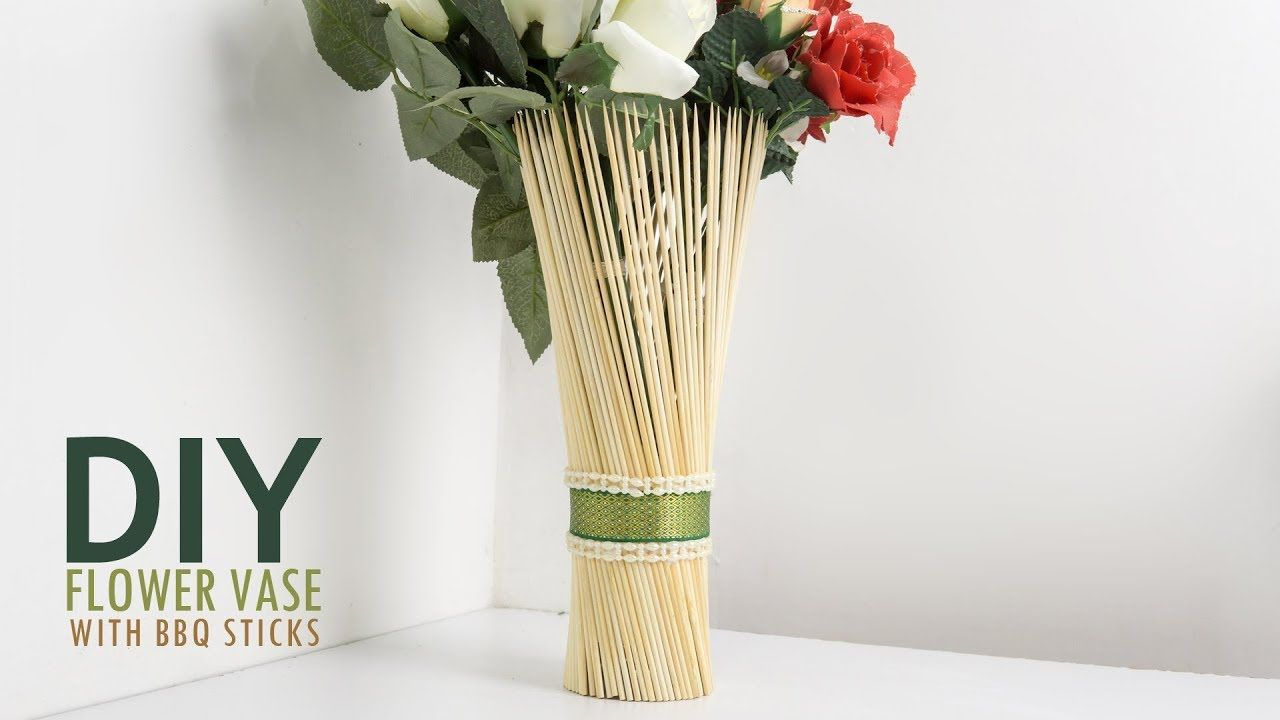 Easy Diy Craft With Barbecue Sticks Decorative Flower Vase Flower Vases Decoration Flower Vases Flower Vase Diy