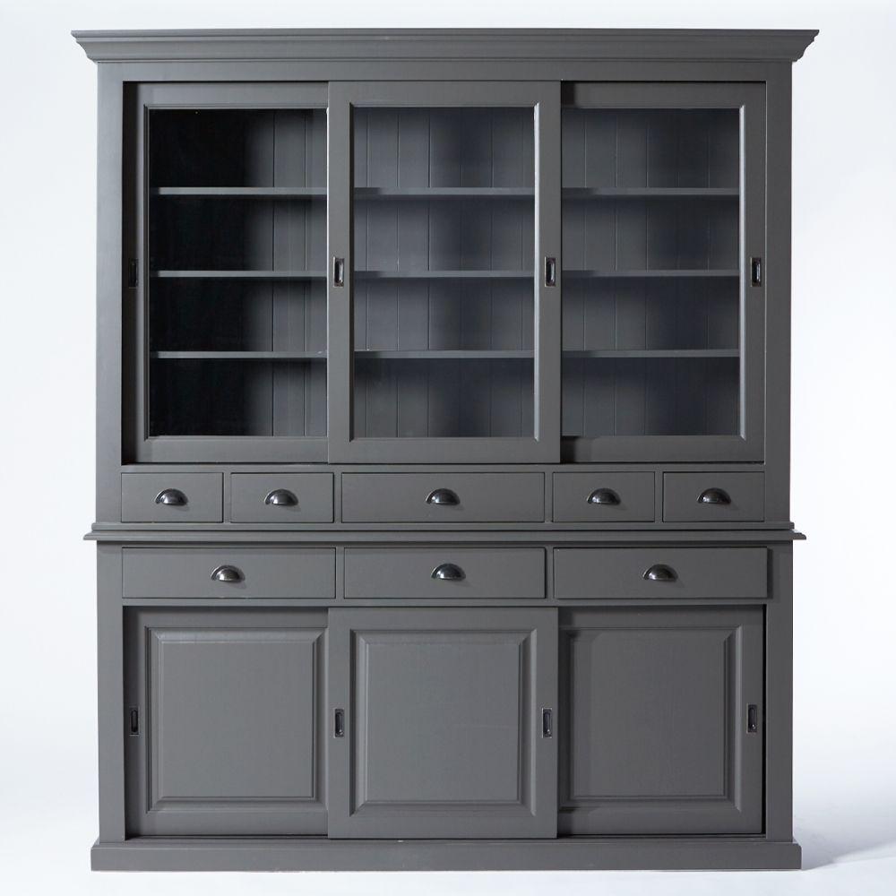 Buffet Vaisselier En Bois Massif Craftsman China Buffet Cabinets  # Peindre Un Vaisselier En Gris