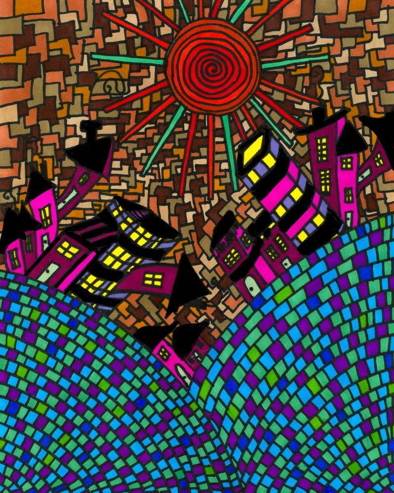 Original Painting Drawing Pop Art 8x10 CITY Acrylic Abstract FOLK ART BY NAN B  #Abstract