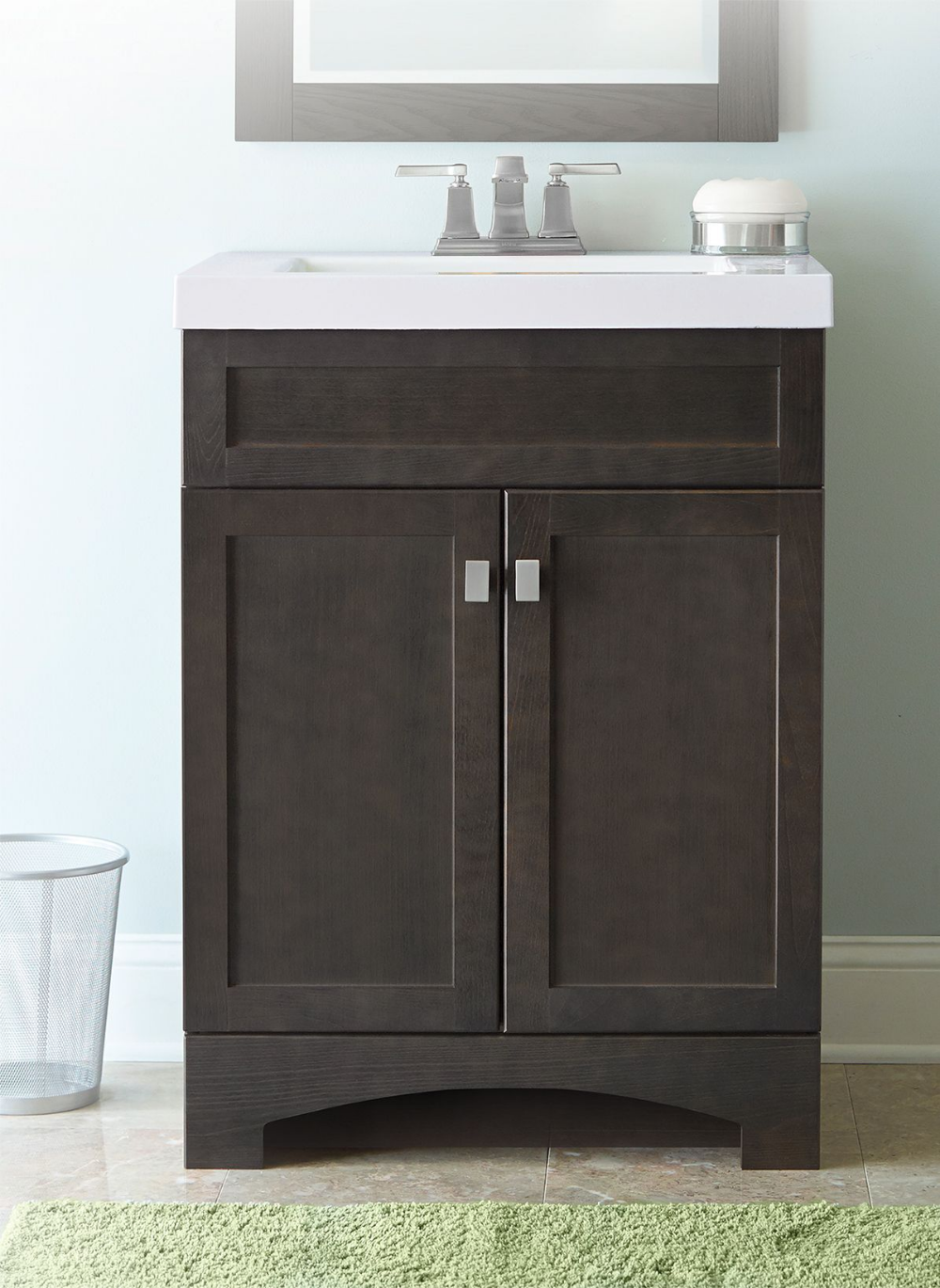 Style Selections Drayden 24 In Heirloom Single Sink Bathroom Vanity With White Cultured Marble Top Lowes Com Bathroom Sink Vanity Single Sink Bathroom Vanity Bathroom Vanity