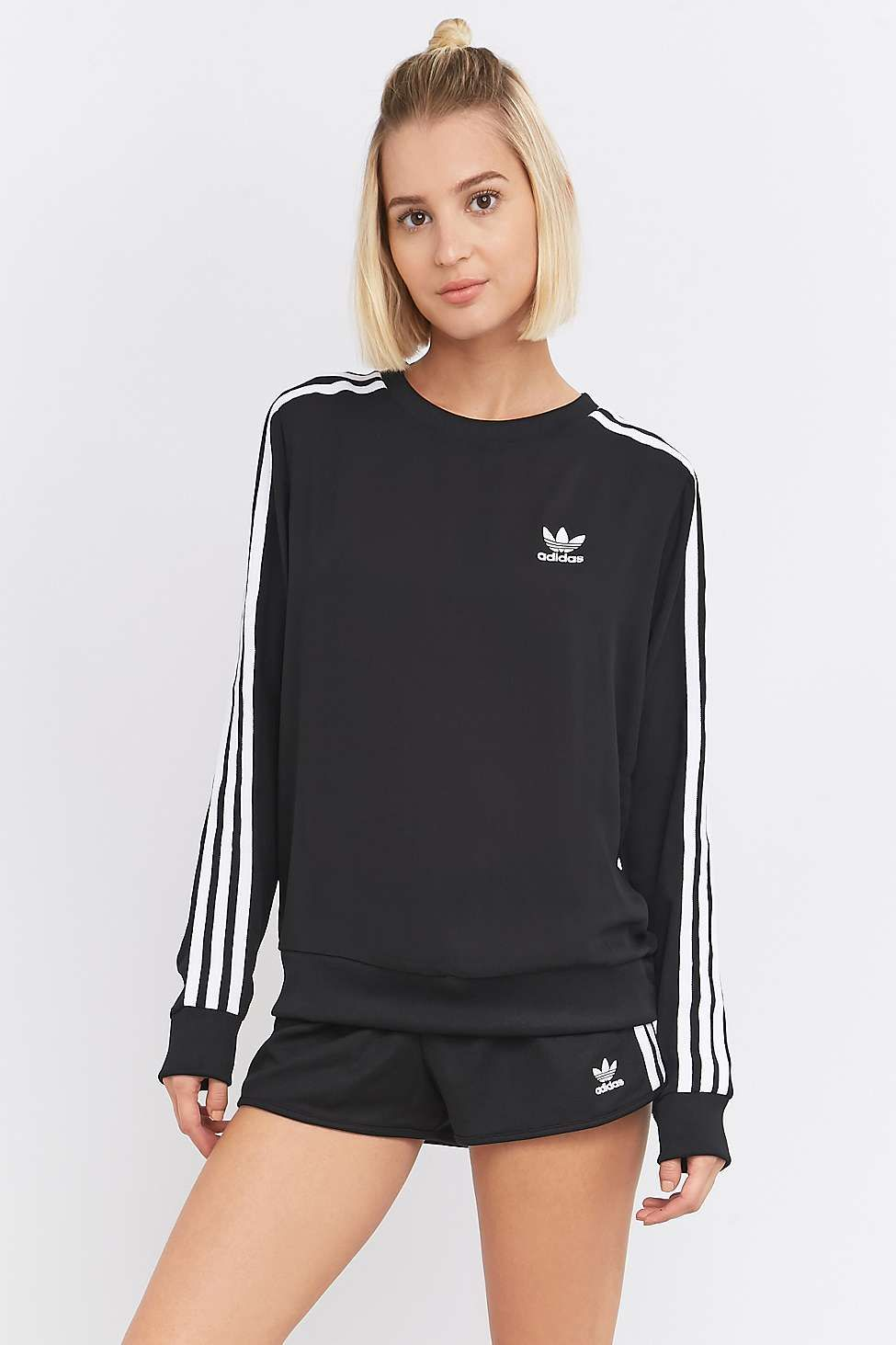 participar Real olvidar  adidas Originals 3-Stripe Long Sleeve Black Jumper | Gym clothes women,  Sports wear fashion, Clothes