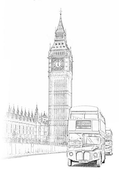 Line Drawing Tattoo London : Big ben and london bus typography images pinterest