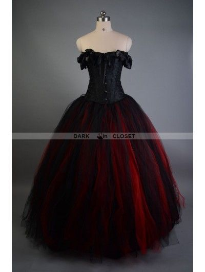 Black and Red Off-the-Shoulder Gothic Victorian Prom Gowns ...