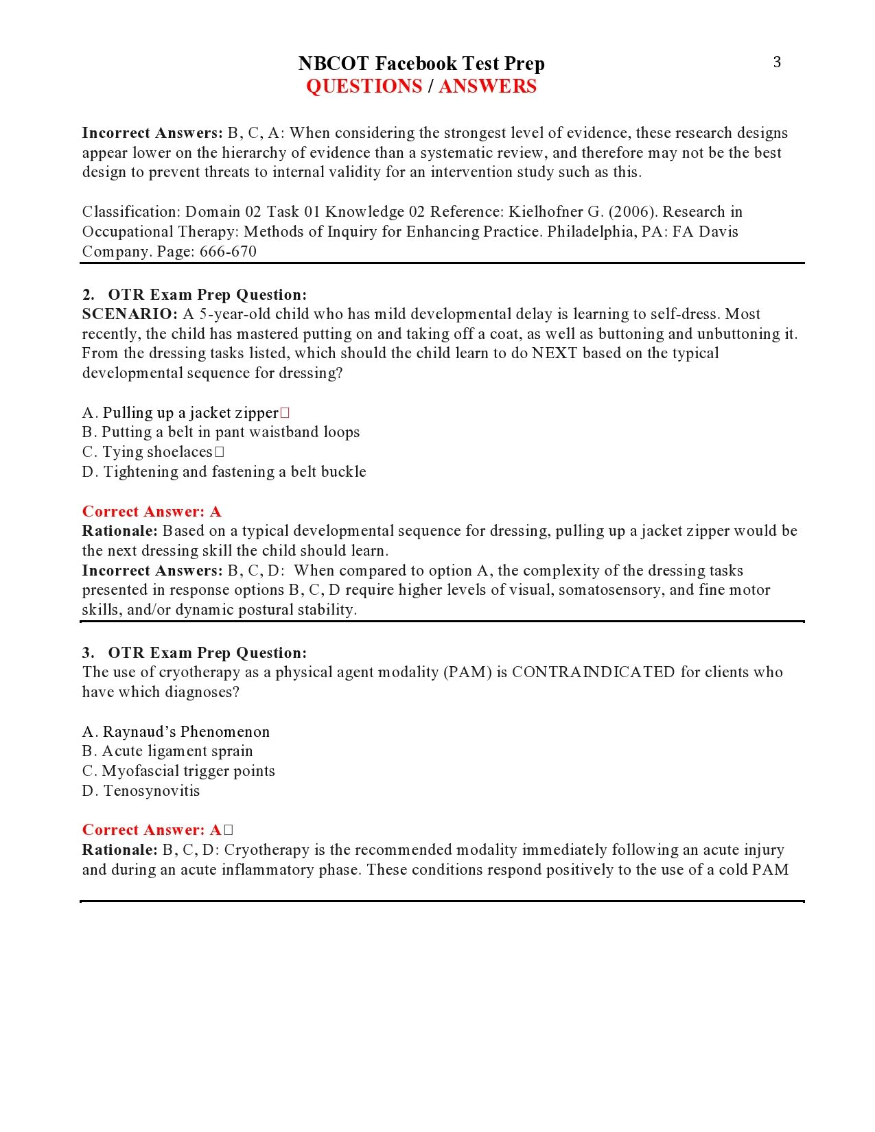 NBCOT Facebook Test Prep QUESTIONS / ANSWERS page 3 | NBCOT