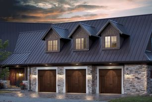 Country Garage With Natural Wood Garage Door High Ceiling Metal Sales 14 Ft Classic Rib Steel Roof Pan Garage Doors Faux Wood Garage Door Garage Door Design