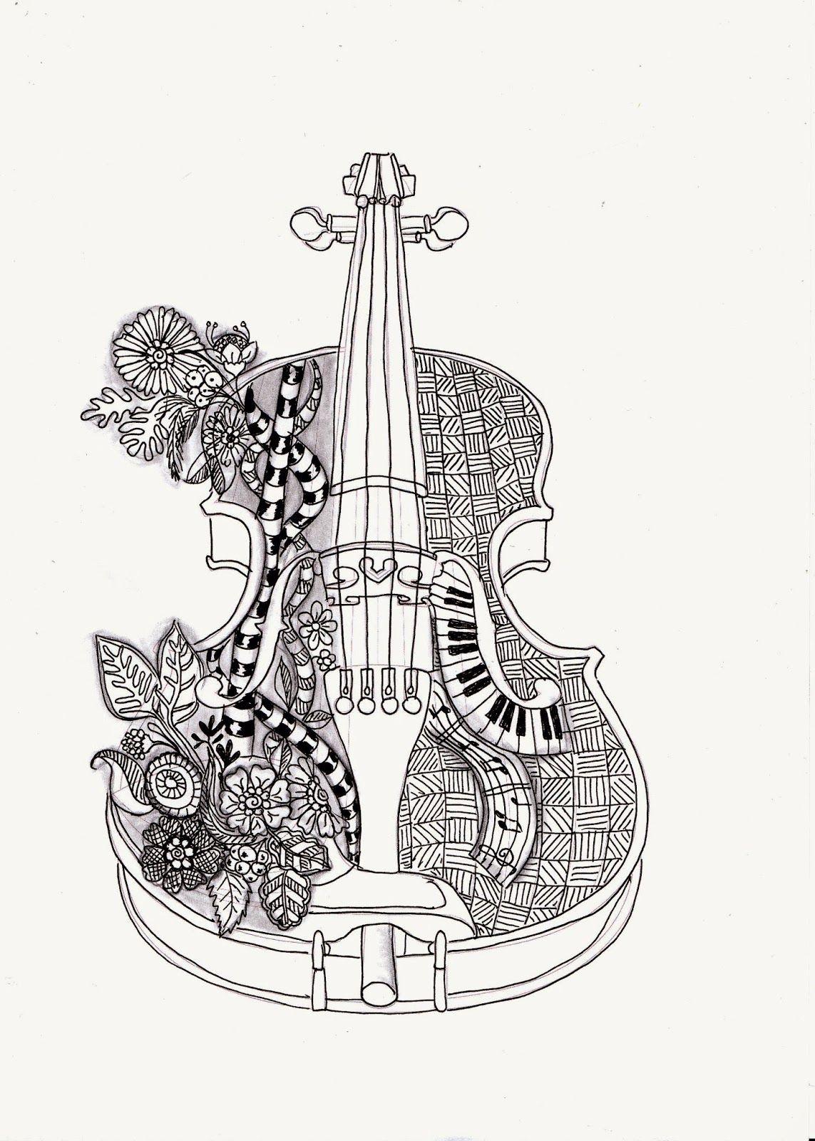 Efie goes Zentangle violin Ben