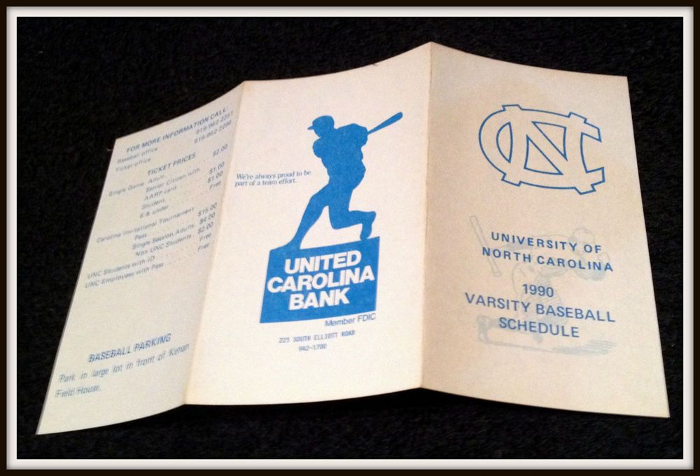 1990 NORTH CAROLINA TAR HEELS UNITED CAROLINA BANK BASEBALL