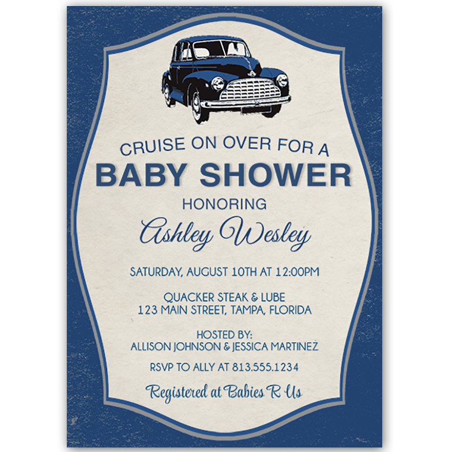 Baby Shower Themes Cars ~ Vintage car baby shower invitation showers