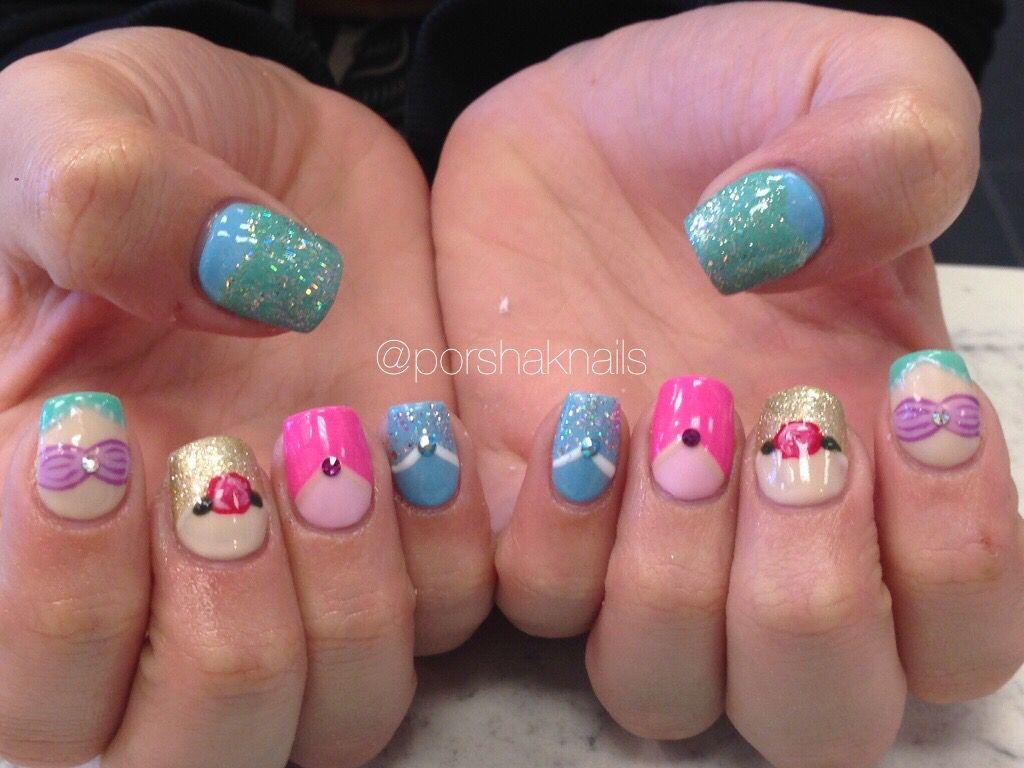 Disney Princess Nails Acrylic Nails Disney Acrylic Nails Disney Nails Mermaid Nails