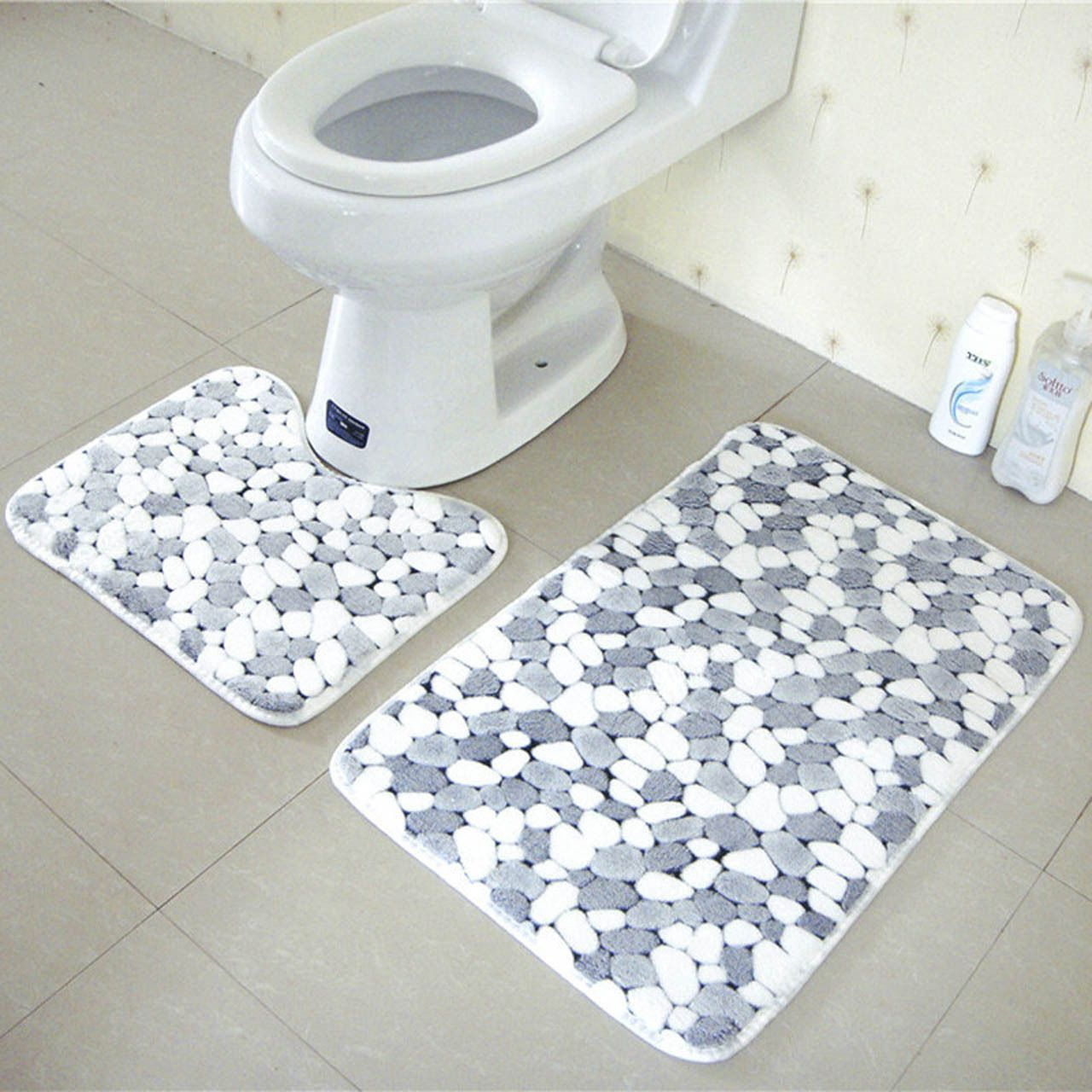 2pcs Soft Stone Pebbles Pattern Bath Pedestal Rug Cover Bathroom