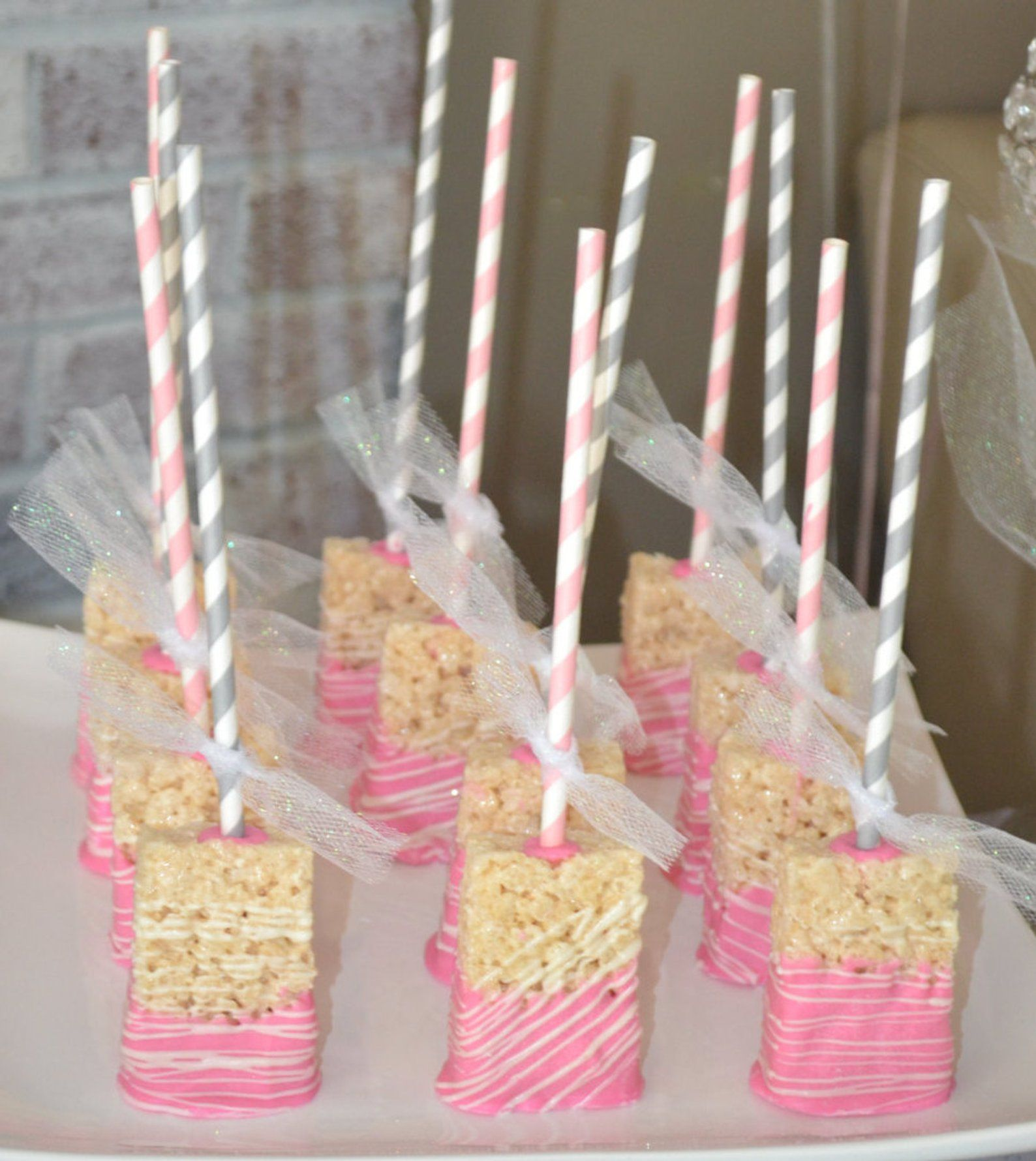 Chocolate covered rice krispie treat pops etsy baby