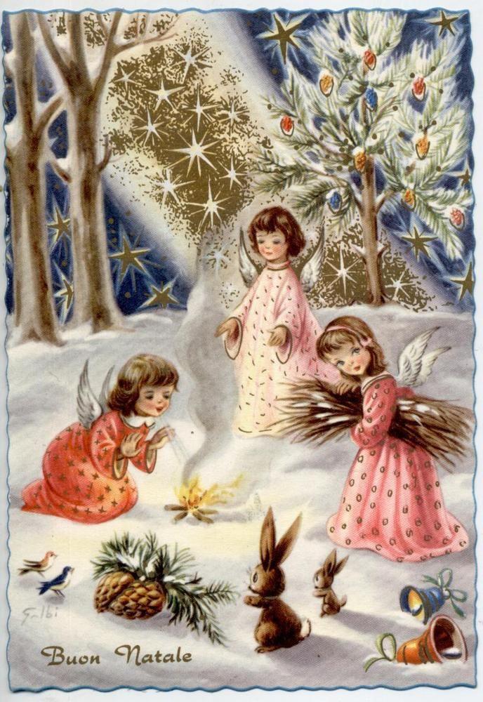 Immagini Vintage Natale.Angeli Bambini Magico Natale Neve Fuoco Xmas Cute Angels Vintage Pc Circa 1950 Arte Natalizia Immagini Di Natale Scene Di Natale