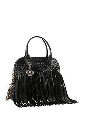 Versace Large Fringed Vanitas Handbag Shoulder Bag In Black SdHxv9