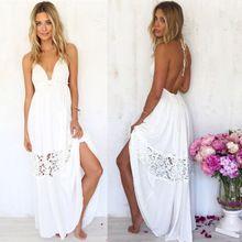 Vestido de Chiffon de alcinhas verão, sexy mulheres império decote em V profundo sem encosto chaves, branco, s, m, l, xl(China (Mainland))