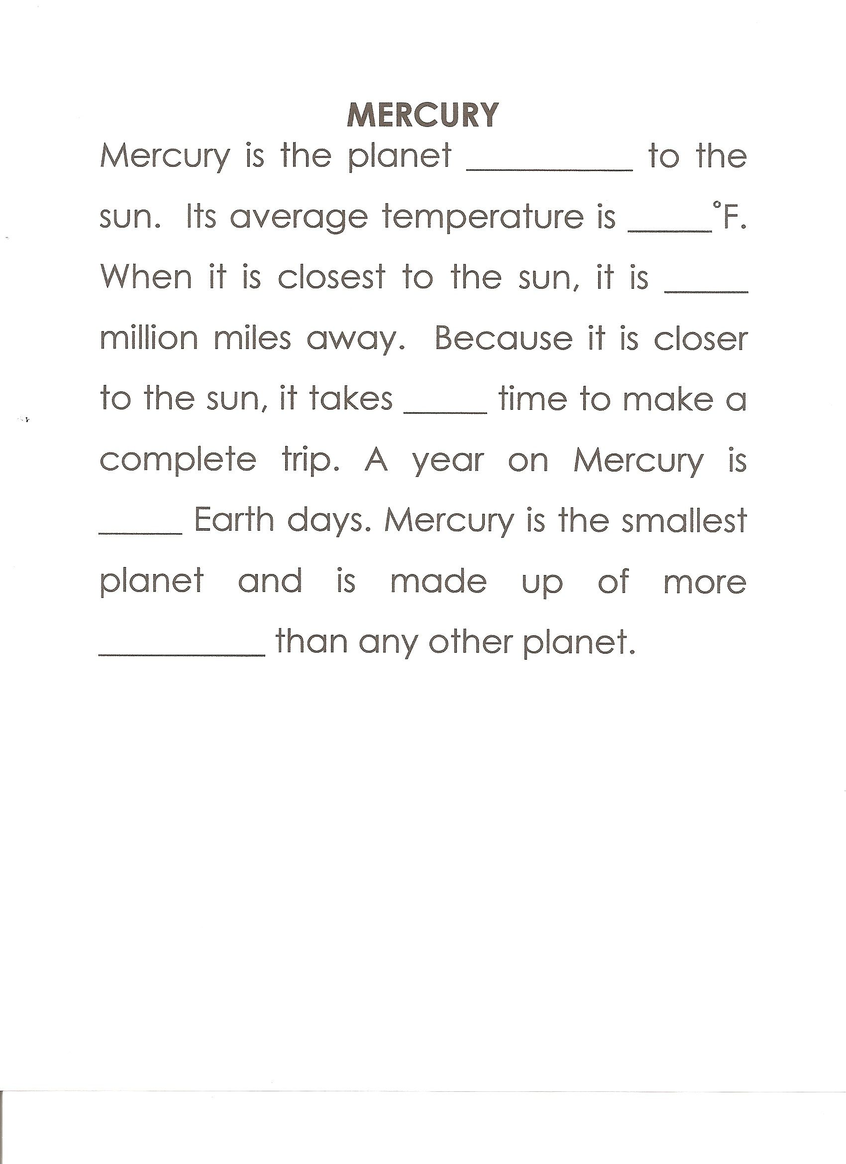 hight resolution of Mercury Writing Worksheets   Printable Worksheets and Activities for  Teachers
