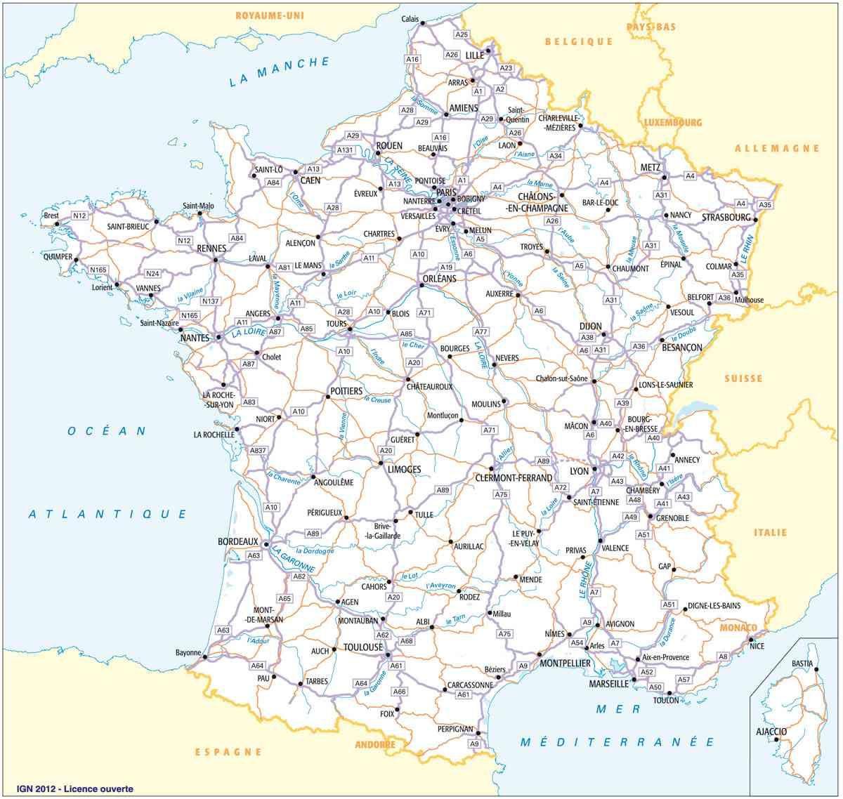 Carte de France routière » Vacances - Guide Voyage en 2020   Carte routiere de france, Carte ...