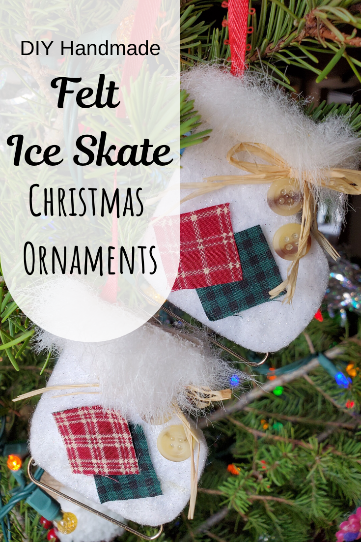 Make these cute Ice skate Christmas tree ornaments in a jiffy! #christmasornaments #christmascrafts #christmas #handmadeornaments #ornaments #diy #homemadechristmasornaments
