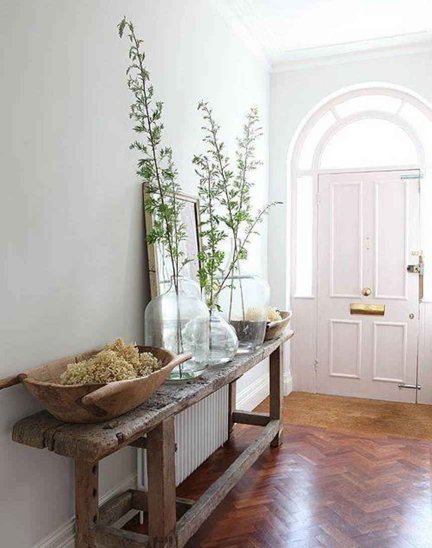 Rustic decor console table and glass vases and mirror i entryway rustic decor console table and glass vases and mirror geotapseo Image collections