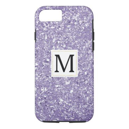 Purple Faux Sparkly Glitter Monogram iPhone 8/7 Case - monogram gifts unique design style monogrammed diy cyo customize