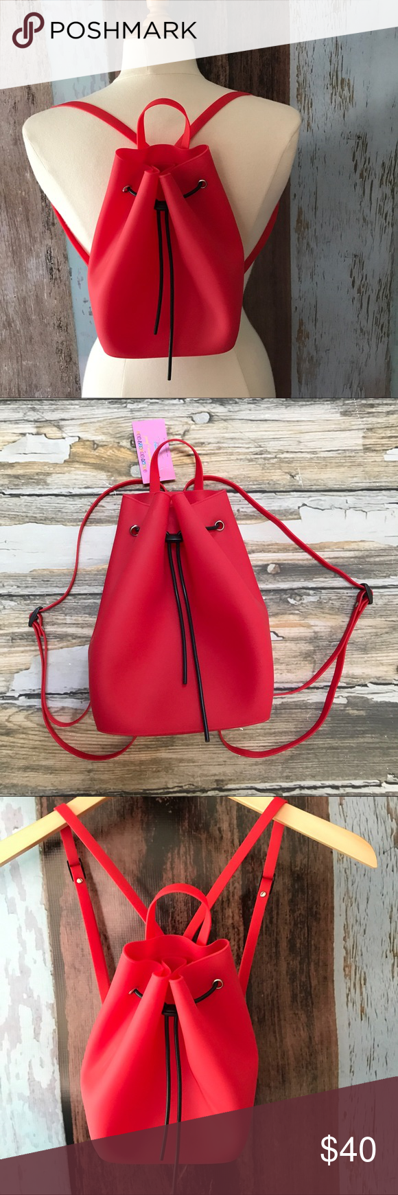 Red flannel backpack  New Bucket Bag Backpack Red Rubber NWT  Bucket bags Buckets and