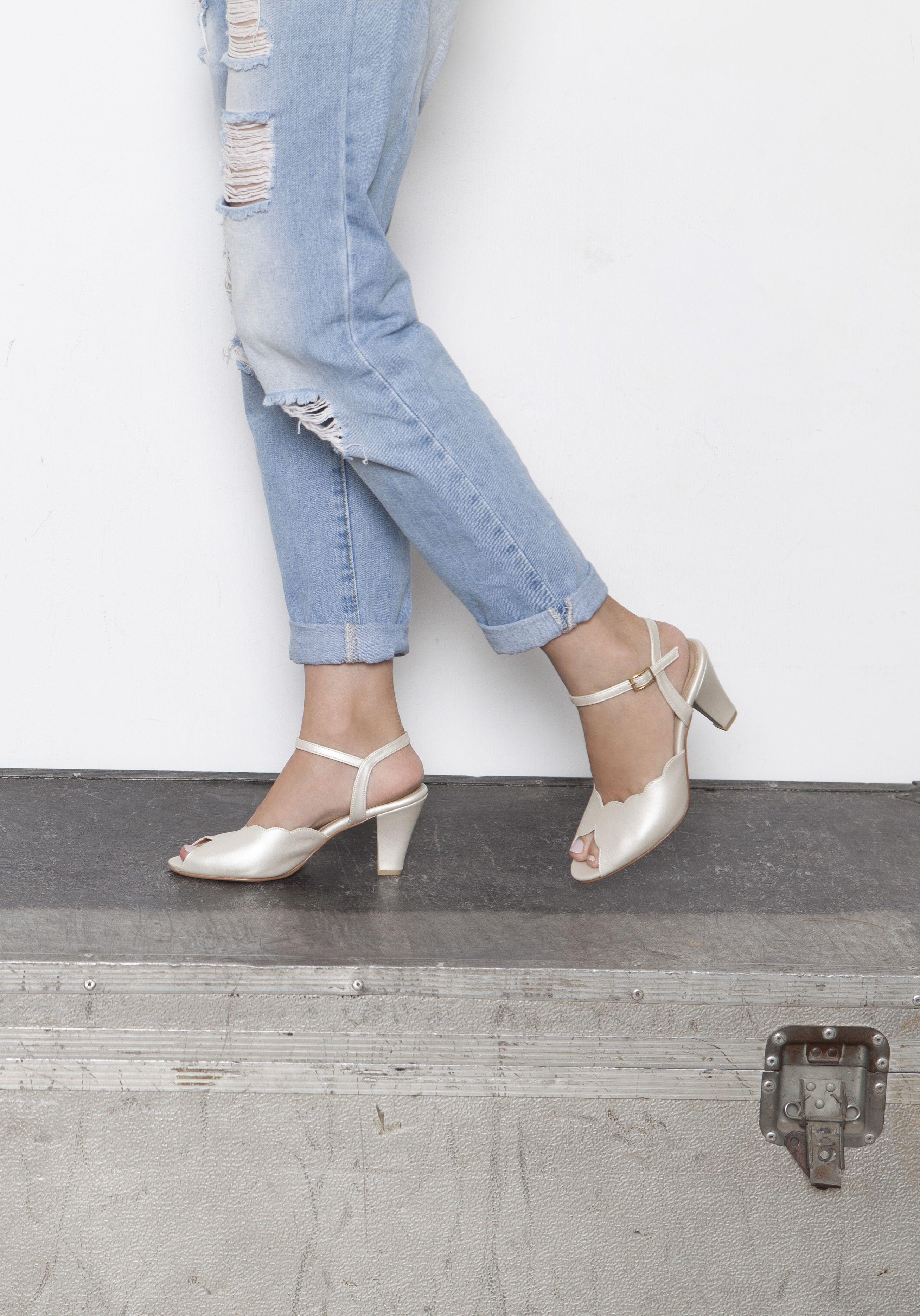 c9aae4f4f404e Adina Vegan Bridal Shoes, Ivory High Heel Wedding Sandal with a ...