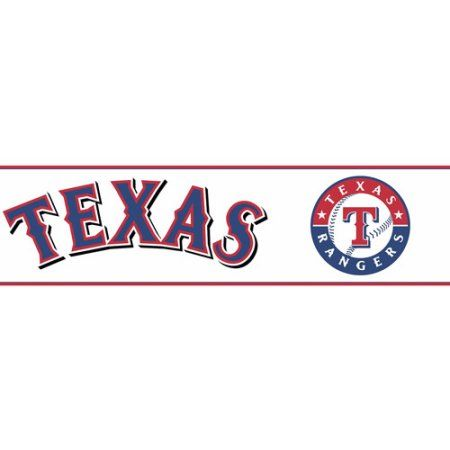 York Wallcoverings Texas Rangers PrePasted Border, White