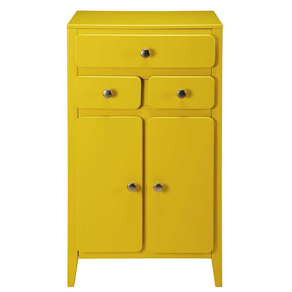 Meuble d'entrée 2 portes 3 tiroirs jaune moutarde | Design