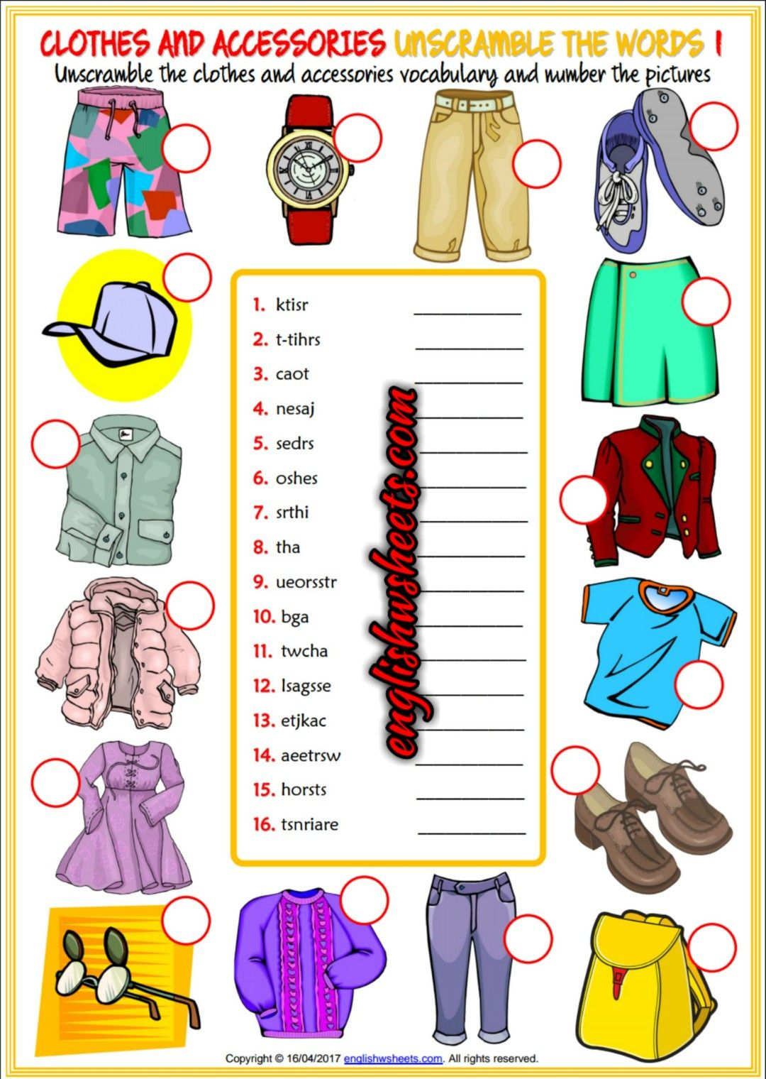 Clothes And Accessories Esl Printable Unscramble The Words