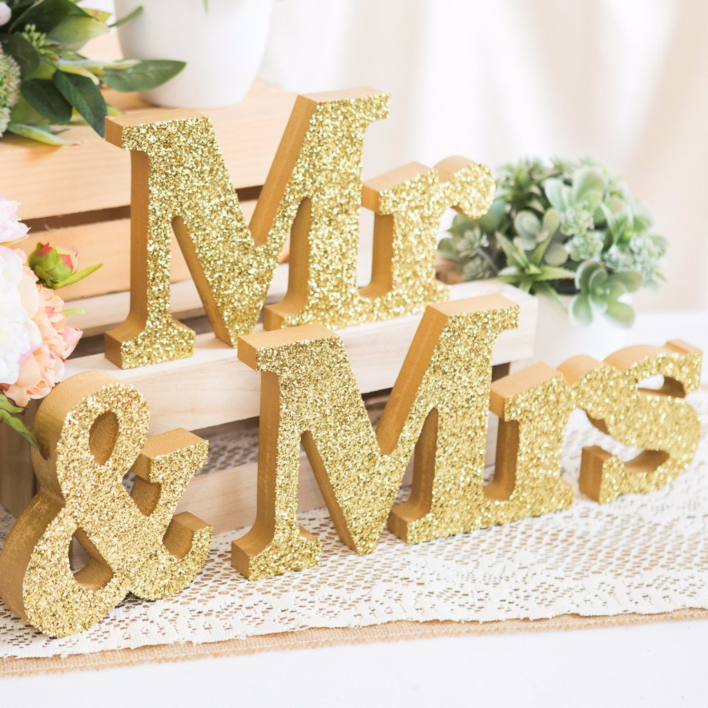 Mr And Mrs Block Table Signs For Wedding Sweetheart Table Wedding White Wedding Decorations Sweetheart Table Decor