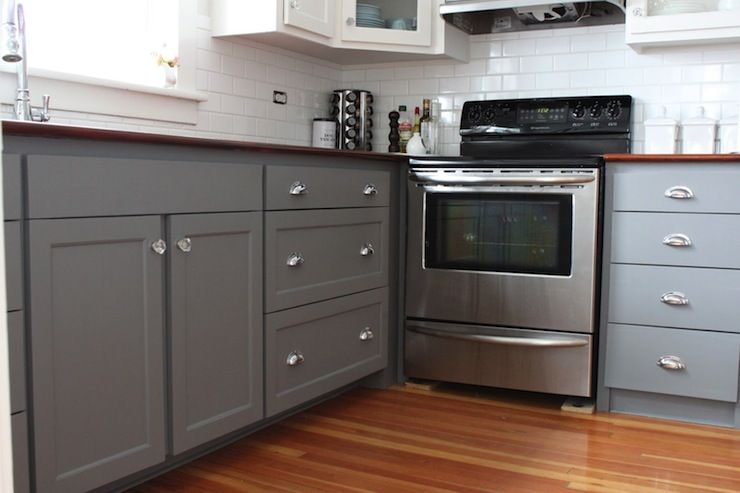 Modern Jane Kitchens Benjamin Moore Whale Gray Cabinets Kitchen Paint Color
