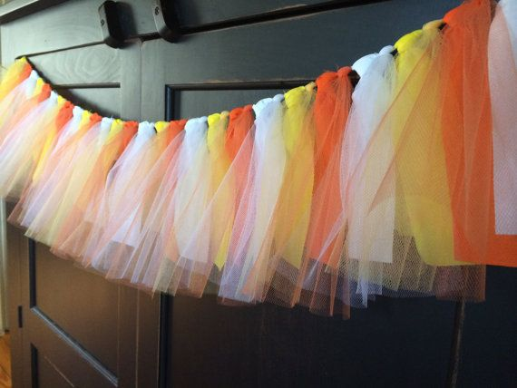 Candy Corn Tutu Rag Tie Fringe Garland, Halloween decor, Bunting, Banner, Swag, Backdrop, Streamer, Photo Prop in Cotton and Tulle