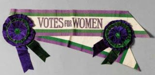 Grandmothers Choice: After 1908 tricolor sashes and rosettes identified marchers immediately as militant Suffragettes.