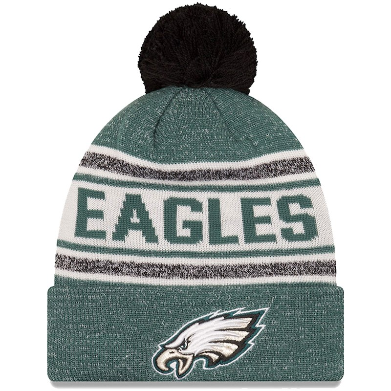 Philadelphia Eagles New Era Toasty Cover Cuffed Knit Hat with Pom -  Midnight Green 16e54f7a1