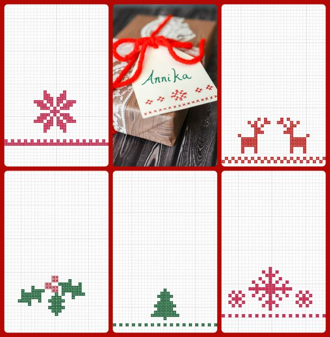 Cross Stitch Gift Tag Tutorial With Free Printable Patterns Cross Stitch Patterns Christmas Stitch Gift Scandinavian Cross Stitch Patterns