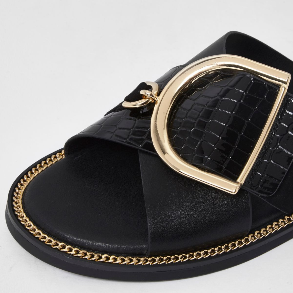 wide fit buckle strap mule sandals