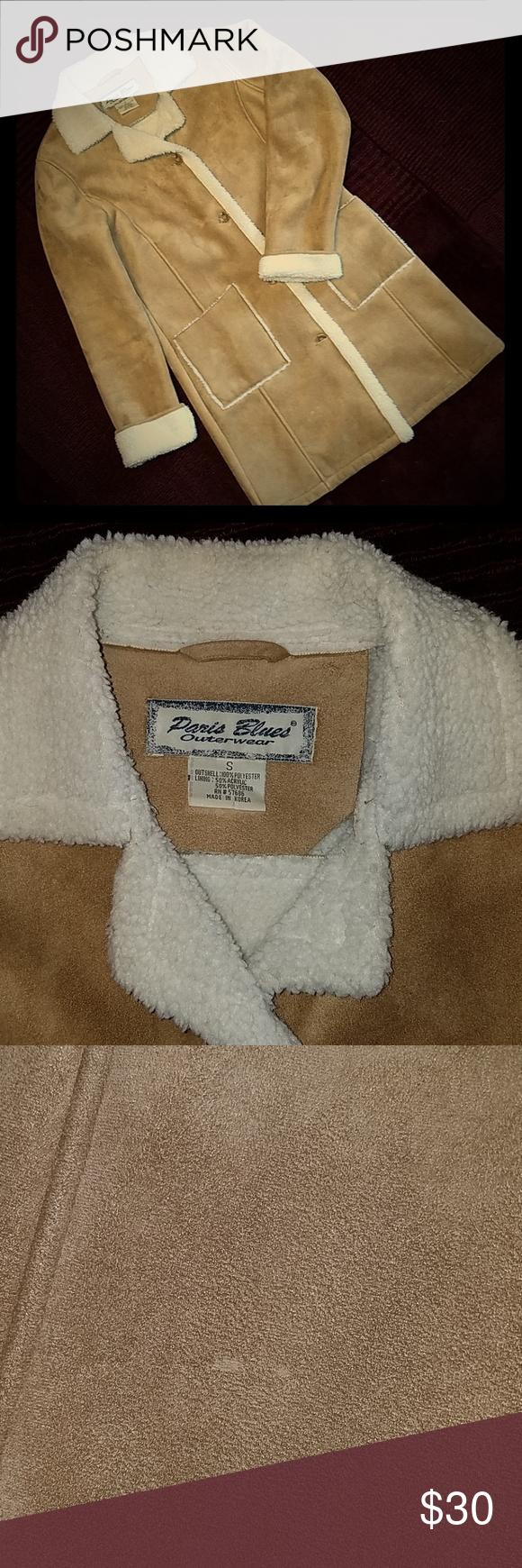 Vintage 90 S Faux Suede Sherpa Coat Small Blue Outerwear Sherpa Coat Suede Coat [ 1740 x 580 Pixel ]