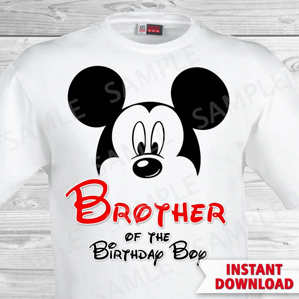 Mickey Mouse Brother Of The Birthday Boy Iron On