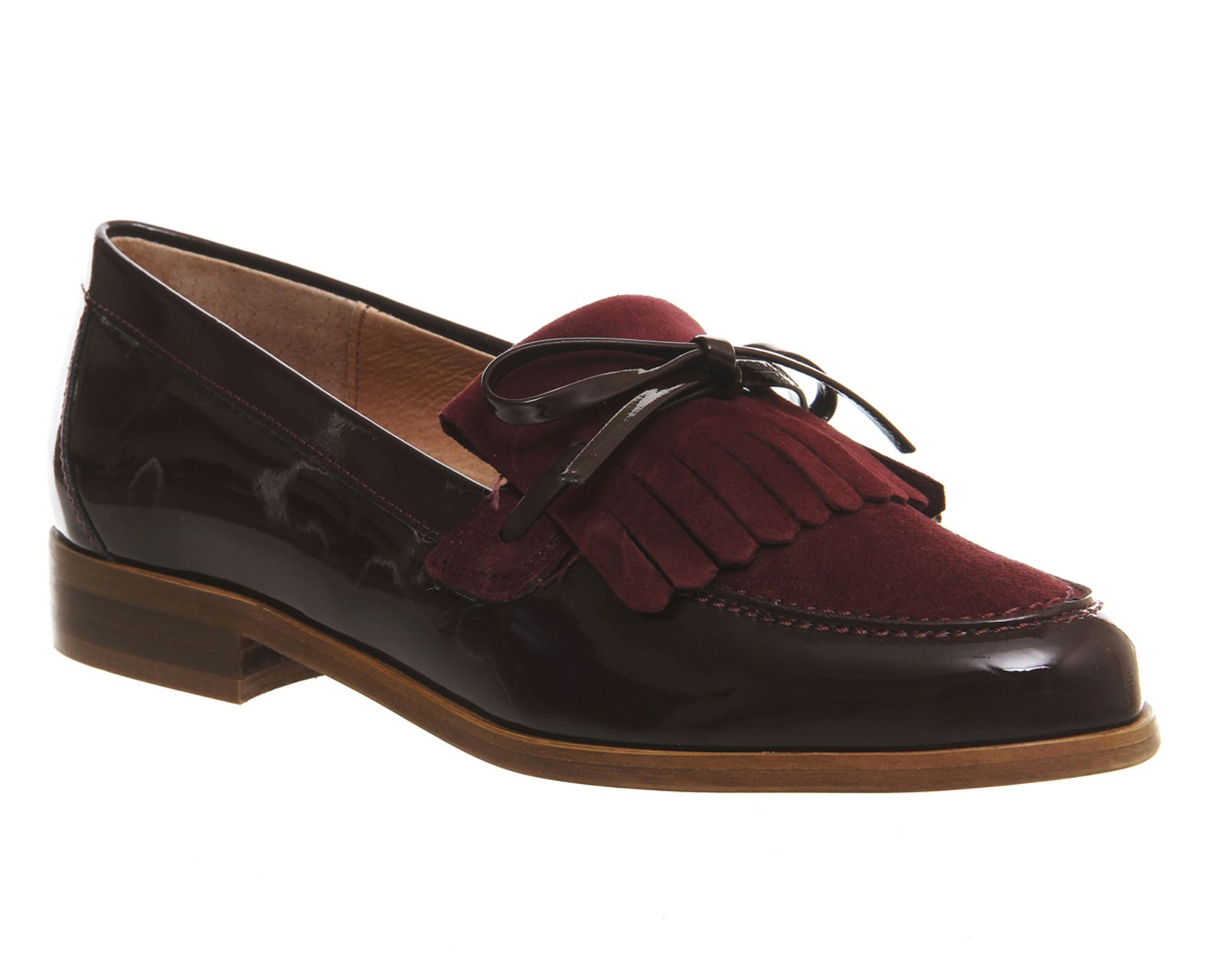 Office Limelight Fringe Loafers Burgundy Patent Suede - Flats
