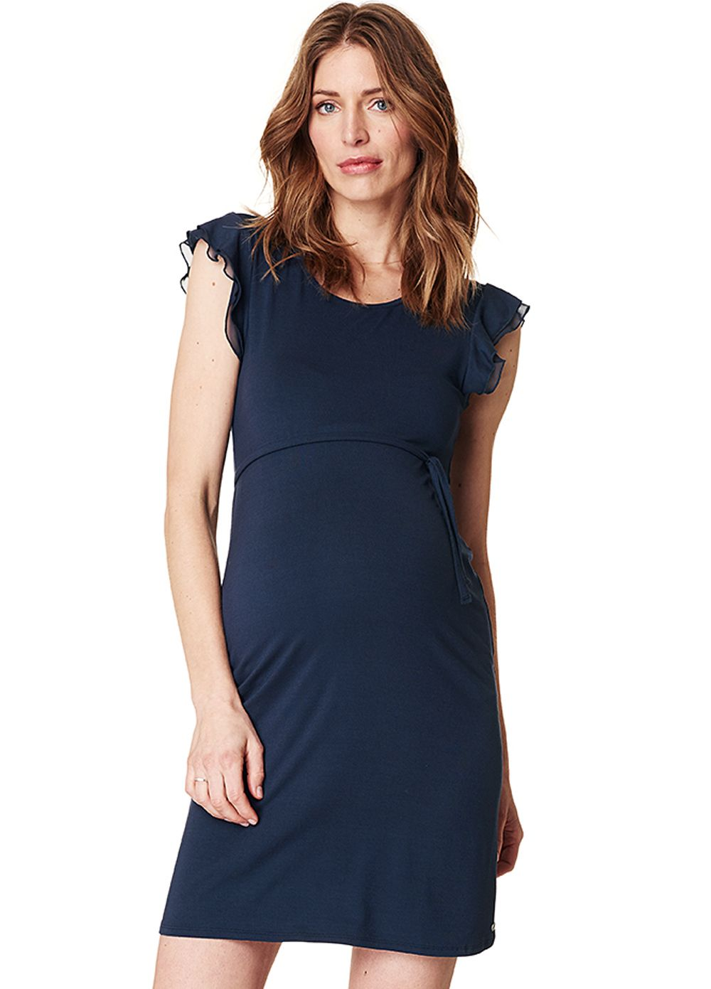 e16027e0a3213 Queen Bee Frill Sleeve Maternity Dress in Night Blue by Esprit Maternity  Wear, Maternity Dresses