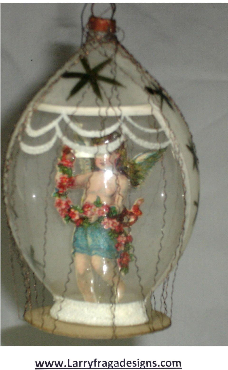 Blown Glass Christmas Ornament With Open Bottom Scrap Paper Girl Wire Wrapped Dimensions 3 1 2 Decoration Noel Ornement La Magie De Noel