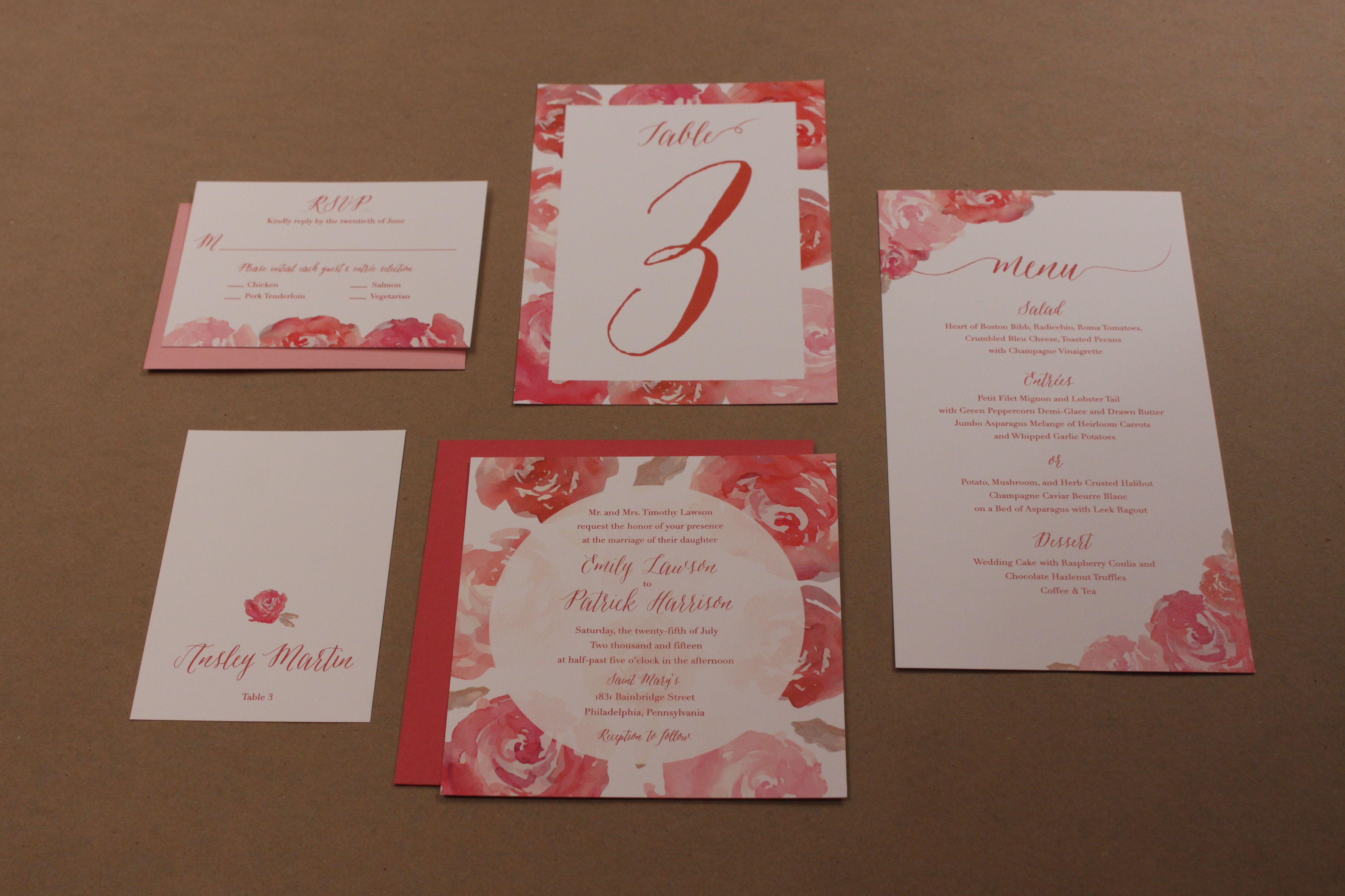 Wedding invitations Paper on Pine loves watercolor